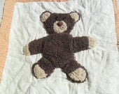 Vintage Plush Bear Panel 3D Furry Quilted Panel with Batting 1980s