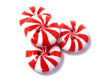 Polymer clay buttons red white peppermint candies set of four