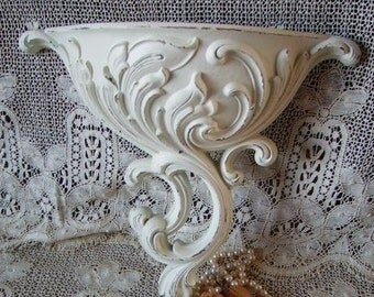Shabby French Country Style, Romantic Cottage Wall Pocket, creamy white, distressed