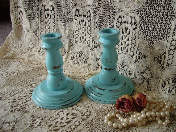Shabby Country Cottage Robins Egg Blue Candle Sticks Pair, distressed