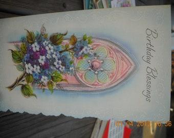 Vintage Birthday Blessings Greeting card unused glitter Embossed Scrapbook crafts