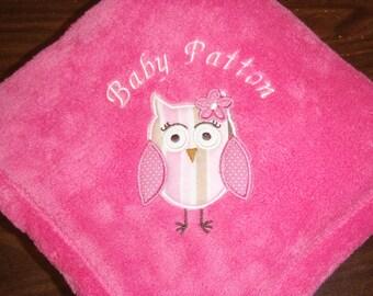 Personalized 30x40 Micro Fleece Baby Blanket Girl Owl