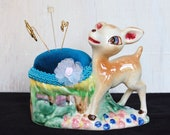 Colorful Bambi Pin Cushion, Vintage and Upcycled