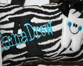 Girls Tooth Fairy Pillow Personalized Boutique Custom Made Zebra
