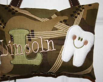 Boys Tooth Fairy Pillow Personalized Guitars Camo keepsake for kids