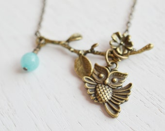 Owl Necklace, Owl Jewelry Necklace,Owl Charm Necklace, Chalcedony Necklace. Antique Brass Necklace