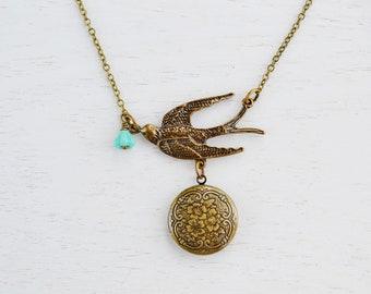 Locket Necklace Jewelry,Bird Locket Pendant,Flying Sparrow,Czech Glass,Rustic Vintage Inspired,Antique Brass Flower Tiny Locket,Bird Jewelr