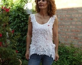 Battenburg Lace Top with hand made roses, Upcycled,Eco Friendly,Top/Vest, OOAK