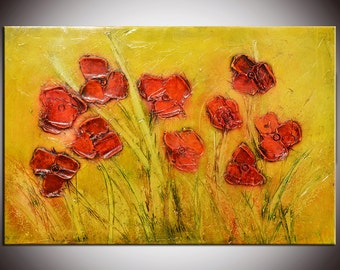 Red Flowers Painting, modern painting, Original Modern Flowers, Oil painting, Red Oil Flowers, Ready to Hang, poppies field,textured impasto