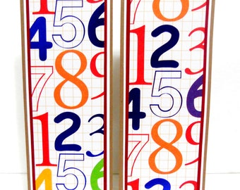 CLEARANCE-Paper Bookmarks- School Numbers Set of 2- approx. 2 1/2 x 7 inches