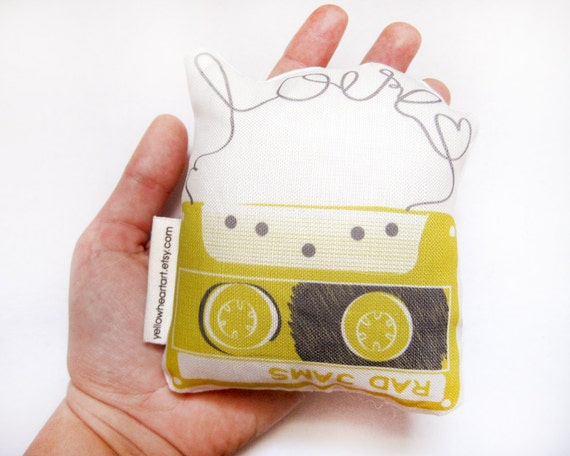 Mini Mustard Mix Tape Plush Yellow Heart Art