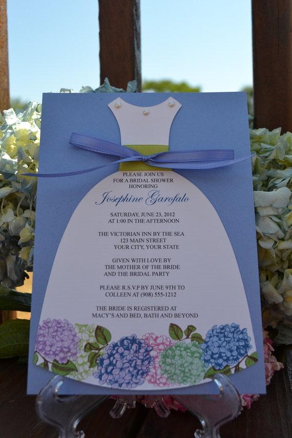 Hydrangea Bridal Shower Dress Invitation