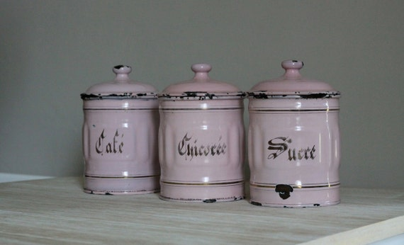 Shabby chic French Vintage Canisters  Pink Enamel 1900's