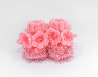 Hand Knitted Baby Booties with Crochet Bell Flowers - Pink, 6 - 9 months
