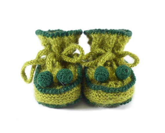 Hand Knitted Baby Booties - Green, 3 - 6 months