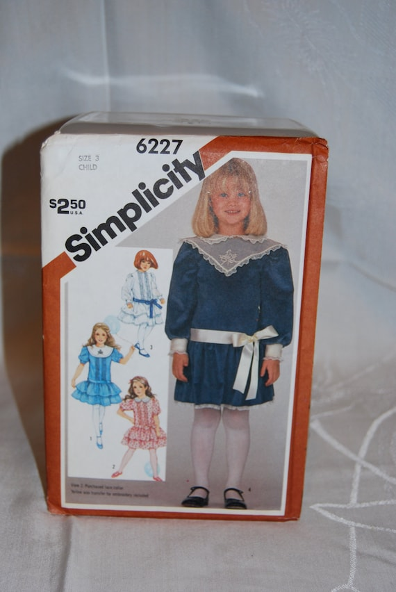 Simplicity Vintage 1983 Dress Pattern 6227 in Size 3  Girls Dropped Waist Dress  Embroidery Transfer Included  New in Factory Fold Epsteam