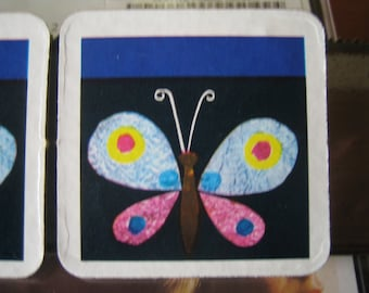 2 Vintage Memory Game Butterflies Magnets