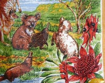 Vintage 1969 Linen Tea Towel Wall Calendar From Australia