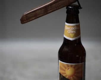 Rustic Wooden Nail Bottle Opener