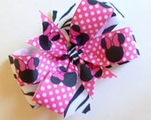 Minnie Mouse and Zebra Double Layer Hair Clip (Set of 2)