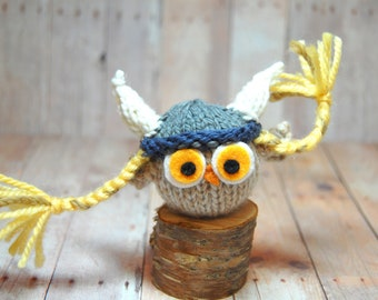 Owl with Viking Hat Toy Knit Woodland Bird Waldorf Viking Owl Plush Softie Ornament Decor Natural Fibers