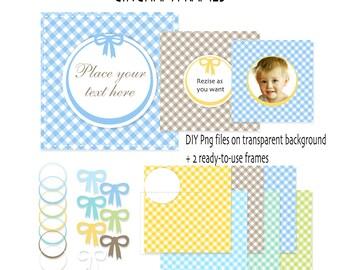 Digital Photo Frame Label - Gingham Baby Digital Frame Clip Art - Frames clipart INSTANT DOWNLOAD 372