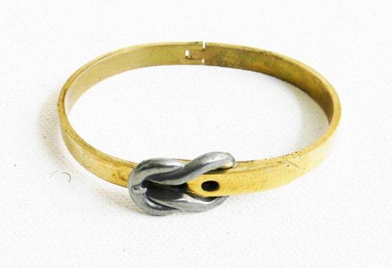 Vintage Brass Bracelet with Buckle Hinge Design Belt