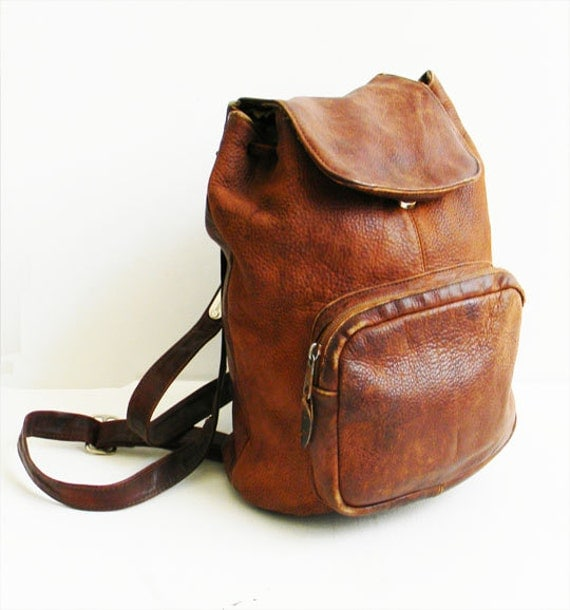 Vintage Distressed Leather Backpack by alchemievintage on Etsy