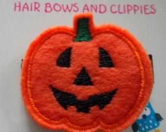 Smiling Orange Black JACK-O-LANTERN Halloween FALL Hair Clip Baby Toddlers Girls