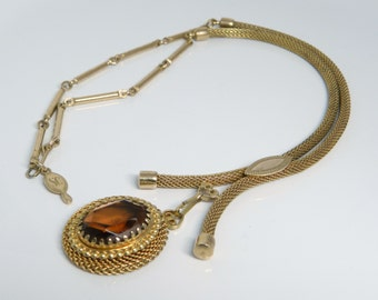 Vintage Sarah Coventry 1970's Festive Necklace In Gold Tone Mesh With German Amber Stone
