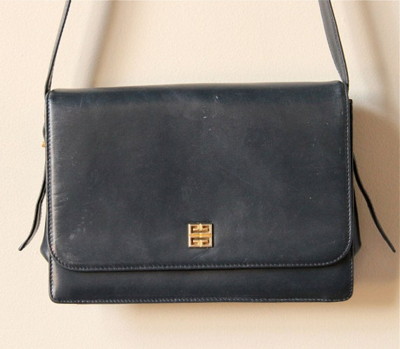 Givenchy Navy Blue Leather Purse, vintage designer 80s simple ...