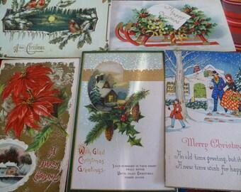 10 Random Vintage Christmas Postcards