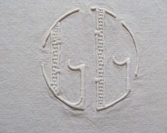 Vintage French Linen Metis Sheet Monogram GG/GL Ladderwork Jours Art Deco 10 ft long make a Fabulous Curtain