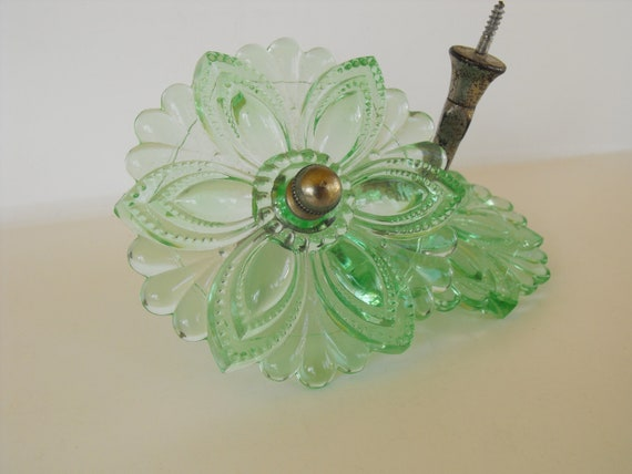 Set Of Two Antique Green Depression Glass Curtain Tie Backs