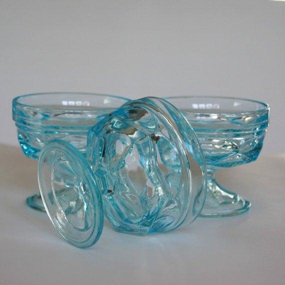 Sherbets Aqua Glass, Mid Century, Set of Three