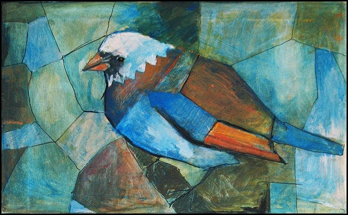 Original cubist painting on canvas Blue Bird by rcolo on Etsy