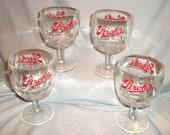 Set of 4 Strohs Beer Goblet/Cocktail Glass