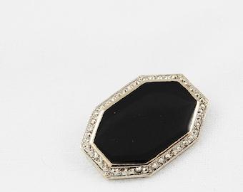 Vintage Black and Silver Tone Brooch