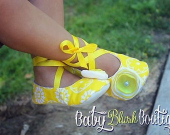 Yellow Baby Shoes - Soft Ballerina Slippers Baby Booties