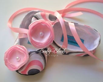 Pink Grey Baby Shoes Baby Ballerina Slipper