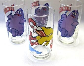 Vintage McDonalds Action Glasses Set Of Four Grimace Ronald 1977 Glass