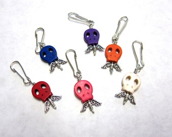 Day of the Dead Charms Sugar Skull Party Favors 6 Pendants Zipper Pull Keychain Fob