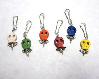 Day of the Dead Keychain Charm Sugar Skull 6 Pendants Zipper Pull Keyring Party Favors