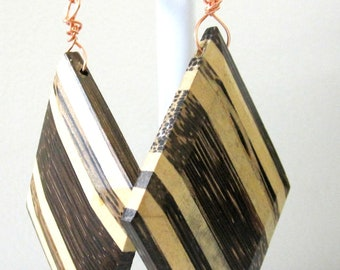 Natural Light And Dark Wood Marquis Bevel Earrings