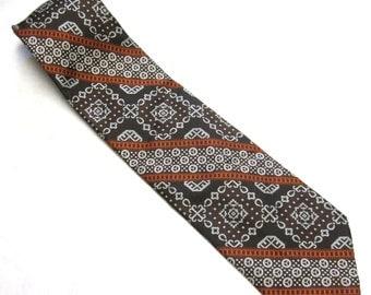 Brown White Orange Necktie Abstract Stripe Tie