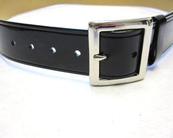 Wide Black Cinch Belt Vintage Shiny 80s Fashion Size M Medium