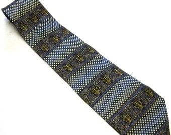 """Vintage Tie Halberstadt's Silk 4""""  Wide Gold Blue White Necktie"""