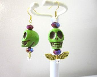 Green Skull Earrings Wings Day of the Dead Earrings
