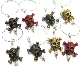 Skull Wine Charms Set of 8 Day of The Dead Sugar Skull Party Favors Jolly Roger