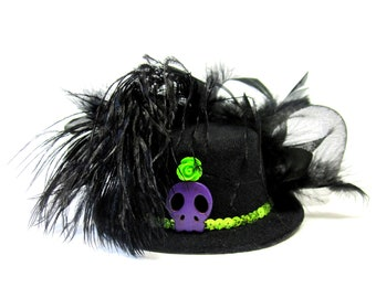 Black Fascinator Hat Day of the Dead Lime Green Purple Mini Top Skull Hair Accessory